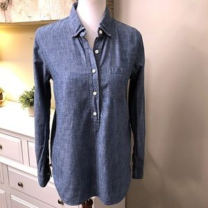J. Crew Chambray Popover Blouse size 6